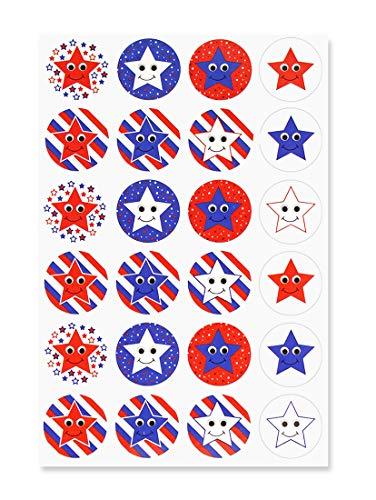 6 Aufkleber, 3 Bögen - Patriotische Sterne, mehrfarbig ()