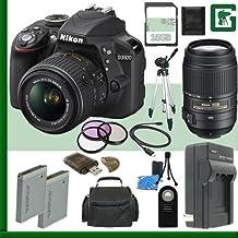Nikon D3300 CMOS DSLR Camera With 18-55mm VR II Lens (Black) + Nikon 55-300mm F/4.5-5.6G ED VR AF-S DX Lens + 16GB + Green's Camera Bundle
