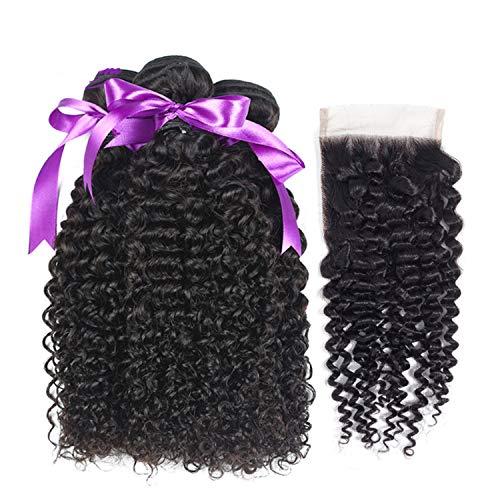 Natürliche Haarteile Malaysisches verworrenes lockiges Haar 3 Bündel mit 4 * 4 schließungsfreiem Teil 100% Echthaar Remy Haarverlängerung Perücken (Length : 10 12 14 Cl10, Part Design : Free Part) - Malaysische Natürliche