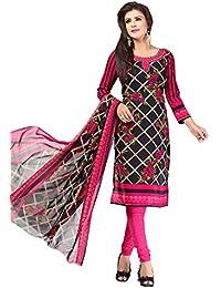 A K Designer Women's Chiffon Dress Material (Mehak9027_Free Size_Black)