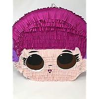 Pignatta LOL surprise (piñata, pentolaccia) Pignatta testa sagomata di bambola LOL Surprise, per feste di compleanno di bambina. Personalizzabile con nome e anni