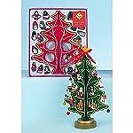 Albero di Natale in legno a 4 lati con 22decorazioni in legno