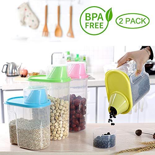 Anseedirect contenitore cereali scatola cereali 2 pcs in plastica trasparente con misurino per cuicina farina cereali tagliatelle spaghetti (lattine di cereali)