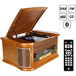 Tourn Disqu dl Platine Vinyle Bluetooth Vintage,Record Player Radio Dab FM/Lecteur CD/MP3/Cassette, Lecteur USB et Encodage avec Haut-parleurs Stéréo Intégrés