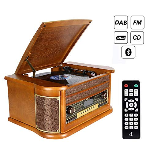 DAB Plattenspieler 7-in-1 Vinyl Turntable de dl Record Player Vintage Holz mit Bluetooth, UKW-Radio, Integrierte Stereo-Lautsprecher, CD/MP3/Cassette Spielen,/USB Play & Encoding