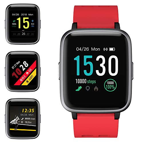 Smartwatch, Orologio Intelligente Braccialetto Fitness Activity Tracker Sportivo Cardiofrequenzimetro da Polso Contapassi Calorie Cronometro Display Touch OLED Uomo Donna Per iPhone Android iOS