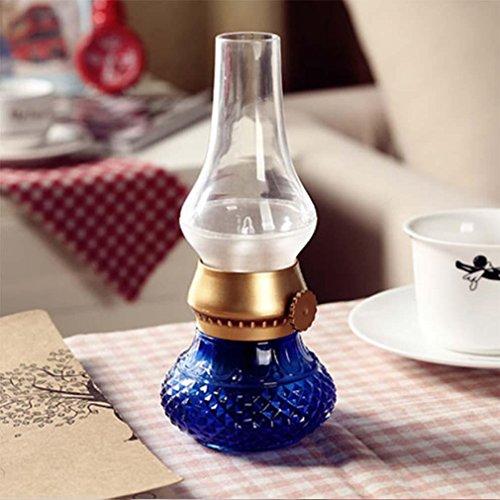 MOXIN Blowing Sprachsteuerung LED Tischlampe-USB wiederaufladbare drahtlose Nachtlicht Kerzenlampe, Kerosin-Öl-Lampe Design mit Dimmer Control Key, für Indoor & Outdoor , blue
