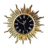 Unbekannt Wanduhr European Style Retro Wanduhr Luxus Persönlichkeit Hanging Tisch Sun Wanduhr Mute Hotel Wanduhr Quarz Uhr, Gold