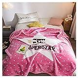 Decke Quilt Bettwäsche Winter-Eindickung Einzel Doppel Napping Coral Velvet Quilt Little (Color : Pink, Size : 180 * 220cm)
