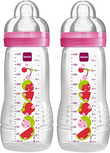 Mam - Biberon 2ème âge +4 mois - 330ml - Lot de 2 - transparent/rose