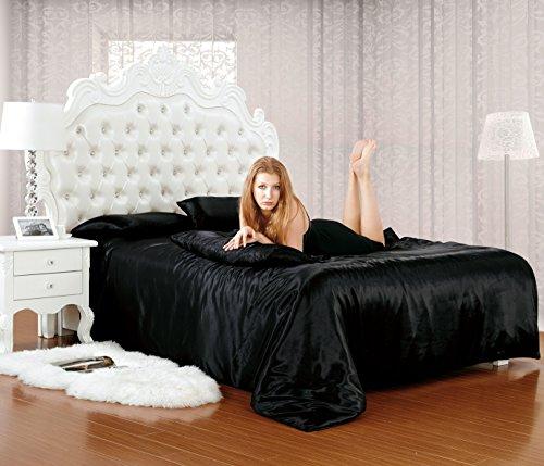 Luxe imitación seda 6 piezas, satén completo conjuntos De ropa De cama sábana bajera, funda De edredón doble & King Size 10 colores vivos, negro, tamaño King