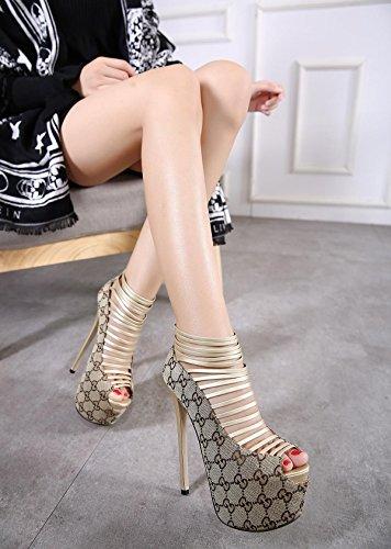 LvYuan-mxx Chaussures femmes talons hauts / Printemps Été / étanche bande de métal plateforme / Bureau & Carrière Party & Evening Dress / talon aiguille / sandales GOLD-US8EU39UK6CN39
