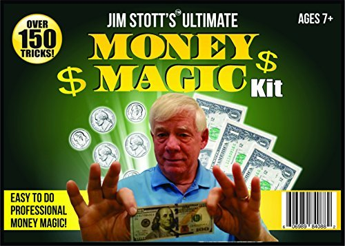Jim Stott Magic Ultimative Geld Magie Kit, Zaubertricks Set für Erwachsene, Münze durch Glas, Fliegen Münzen, Magic Pen Penetration, The Money Maker, Faltpapier Geheimnis