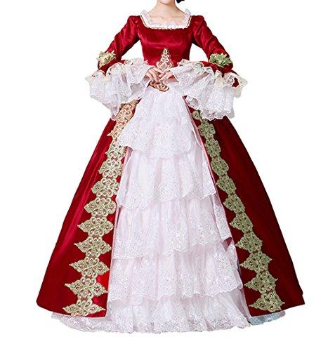 Nuoqi®Damen Satin Gothic Victorian Prinzessin Kleid Halloween Fancy Dress Cosplay Kostüm Party Maxi Kleid (40, (Prinzessin Viktorianische Kostüme)
