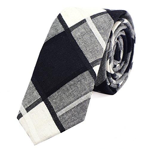 DonDon Herren Krawatte kariert 6 cm elfenbein-weiß-schwarz -