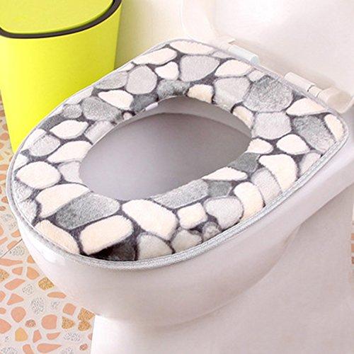 Spritech (TM Suave baño Calentador Lavable Tapa de Inodoro Felpa Almohadillas, Gris