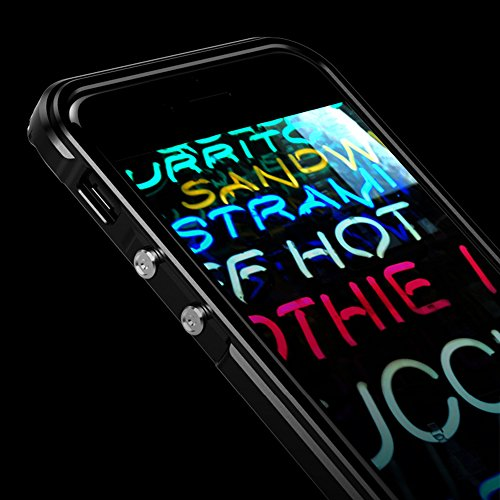 """iPhone 7 4.7"""" Coque ,SHANGRUN Aluminium Metal Frame Bumper Coque + Transparent PC Matériel Protictive Couvercle housse Etui Protection Case pour iPhone 7 4.7"""" Noir Doré"""