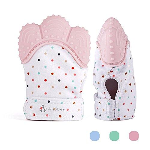 Teething Mitten, Anbber Baby Handschuh Zahnen Fäustlinge, Neuer Beißring für Kinder (3-12 Monate),Rosa, Ein Stück