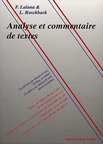Analyse et commentaire de textes