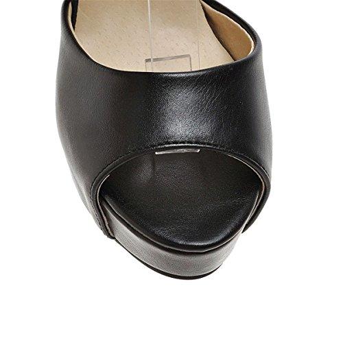 YE , Escarpins peep-toe femme Noir - Noir