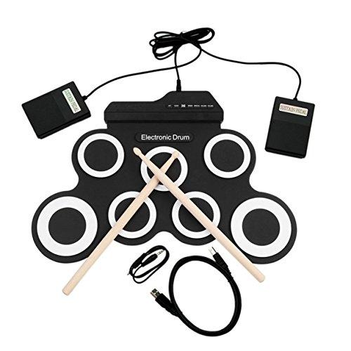 USB E-Drum G3002 Drum Kit Drum Set Schlaginstrument für Kinder (Farbe: schwarz-weiß)