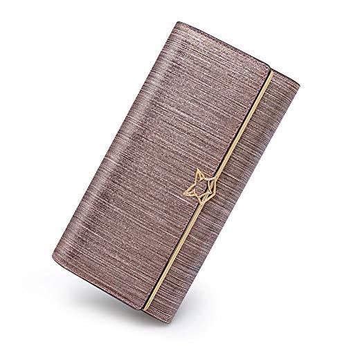 FOXER Damen Geldbörse Leder dreifach faltbar Clutch Wallet Damen Kartenhalter - Pink - Einheitsgröße -