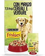 Purina Friskies Crocchette Cane Adulto con Manzo, Cereali e Verdure Aggiunte, 7.5kg