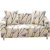 FORCHEER Sofabezug Elastischer Sofaüberwurf Blumen-Muster Sofa Cover Stretch Hussen für Sofa/Couch in Verschiedenen Größen(4-Sitzer, 225-290cm)