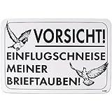 Hinweisschild PST-Schild - VORSICHT! EINFLUGSCHNEISE MEINER BRIEFTAUBEN! - Gr. 30x20cm (TB807)