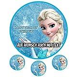 Tortenaufleger aus Zuckerpapier - Tortenbild Geburtstag Tortenplatte Zuckerbild Motiv: Disney Frozen mit Elsa