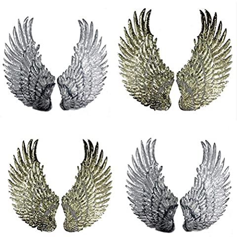 SevenMye 4 Pieces Embroidered Trim Patches,Wings Sequins Motif Applique for Jeans/Jackets/Clothes/Bags Decoration