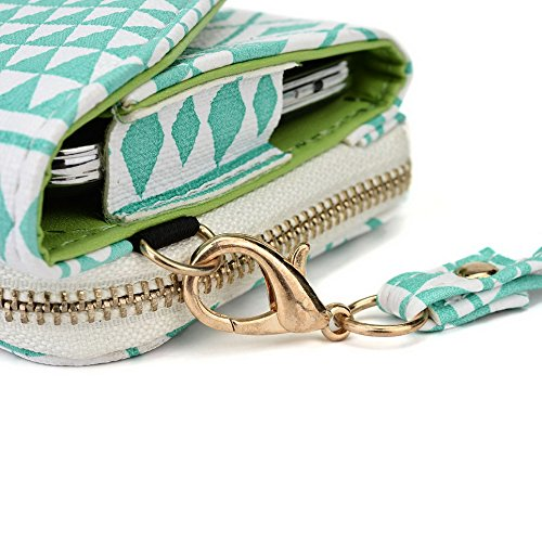 Kroo Transport Wallet Wristlet Étui pour Samsung Galaxy Trend Plus/Ace 3/Xcover 2 Blue Houndstooth and Blue Mint Blue and White