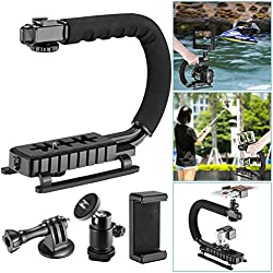 Followsun 4-in-1 C-Shape Rig Handheld Stabilizer for Low Position Shooting for Smartphone Action Camera Camcorder DSLR, Compatible with Nikon Canon Sony GoPro SJCAM Garmin Virb XE iPhone Samsung