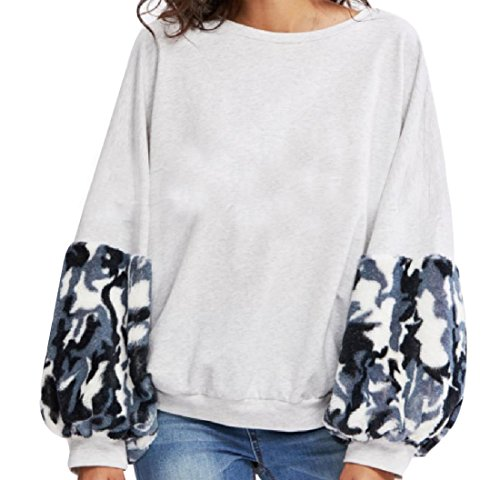 CuteRose Women's Puff Sleeve Round Neck Floral Printed Tops Outwear Grey XS (Top Floral Sleeve Puff)