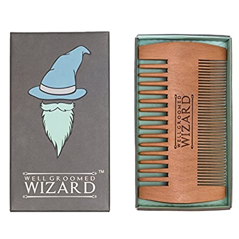 Well Groomed Wizard Beard Comb, Wooden Beard Comb for Men, Anti-static