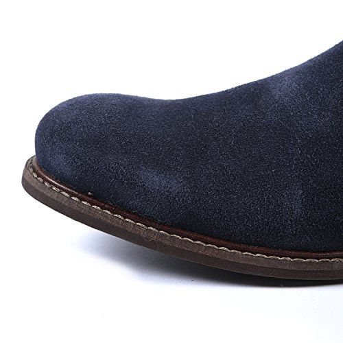 Herren Klassisch Chelsea Knöchel Wildleder-Leder Stiefel-Handgefertigte Ledersohle Blau