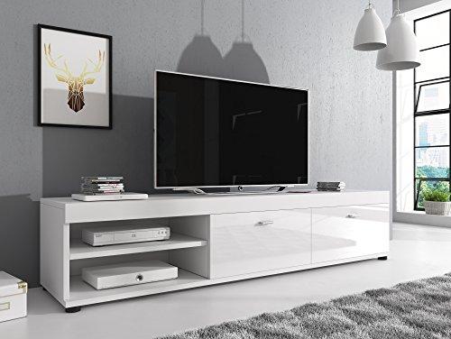 Möbel Konsole Schränke (TV Möbel Konsole Tisch Schrank Elsa 140 cm Korpus Matt / Front Hochglanz Weiß)