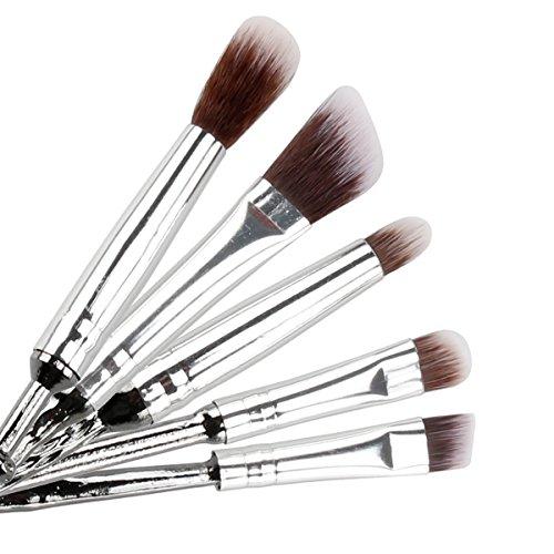 Pinsel Makeup, Chacca 5 pcs Makeup Pinsel Set Zauberstab Fancy Look mit feinen Borsten, Silber Schwarz