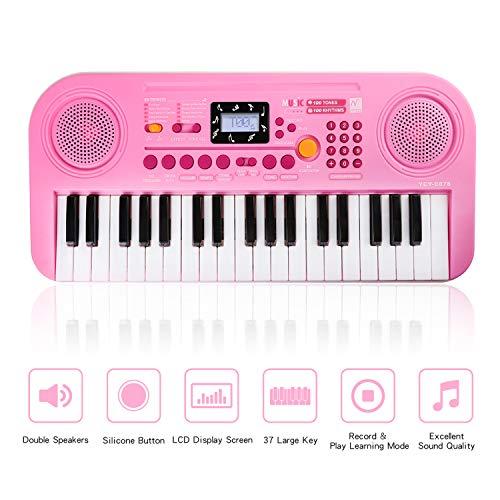 Zmoon Klavier für Kinder, 37 Tasten Klaviere Keyboards Multi-Funktion elektronische Orgel für Kinder und Anfänger (Rosa)