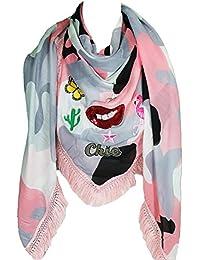 Mevina Schal Patches Camouflage Fransen Flamingo Kaktus Kussmund Stern groß quadratisch Baumwolle Schal Halstuch