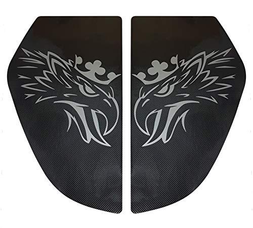 Unbekannt 2er Set Karbonfaser-Aufkleber, Dekoration für die S und R Serie 2016 + Jahre LKW Bett Fenster Silber Griffin Eagle Cabin Zubehör (Lkw-fenster-folie)