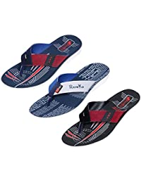 IndiWeaves Men Flip Flop House Slipper And Sandal-White/Red/White/Blue/White- Pack Of 3 Pairs