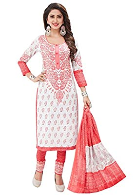 Ishin Cotton White & Peach Printed Unstitched Salwar Suit Dress Material (Anarkali/Patiyala) With Cotton Dupatta