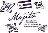 GRAZDesign 620294_30_040 Wandtattoo Rezept Cocktail Mojito für Küchen-Wand | Küchen-Sprüche für Küchenrückwand | Wandsticker aus Markenfolie - auch für Esszimmer (43x30cm//040 violett)