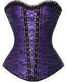 Fashion Palace Corsage Korsett Vollbrust Bustier Gothic corsette Deman Klassisch Spitze top mit G-Schnur Lila M