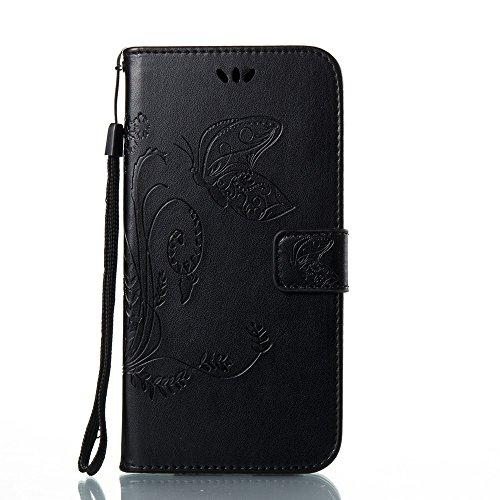Solid Color Faux Leder Bookstyle Brieftasche Stand Case mit geprägten Blumen & Lanyard & Card Slots für Samsung Galaxy A7 2017 ( Color : Blue ) Black