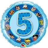 Ballon 5 ans pirates bleu à l'unité