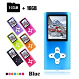 Crillutar 16 GB MP3-Musik-Player, tragbarer MP4-Player, mit Micro SD-Kartensteckplatz bis zu 64 GB, 1,8-Zoll-Farbbildschirm, unterstützendes Musik-Video, das Photo Viewer und E-Book – Blue