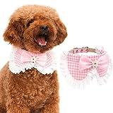 Pawaboo Hundehalsband, Einstellbar PU-Leder Haustier Hunde Halsband halskette Fliege Schleife Halskrause Hundefliege Halsschleife für Welpen Katze, Rosa, Für 20.5cm-28cm