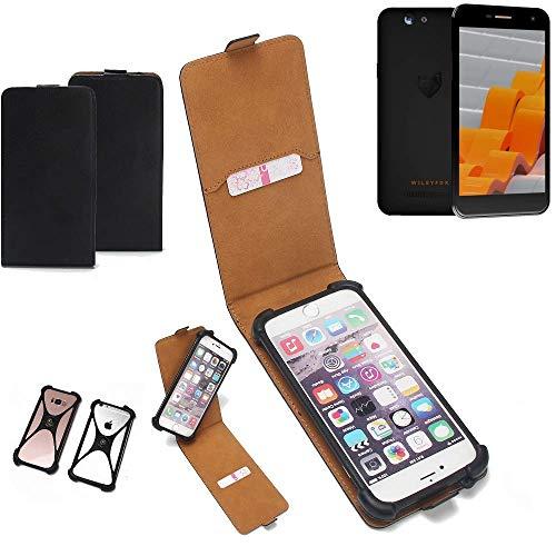 K-S-Trade Flipstyle Case für Wileyfox Spark Schutzhülle Handy Schutz Hülle Tasche Handytasche Handyhülle + integrierter Bumper Kameraschutz, schwarz (1x)